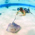 snorkeler-stingrays