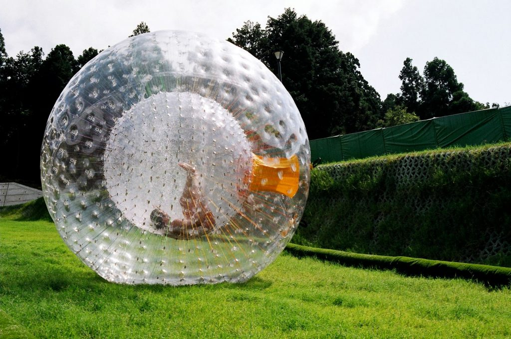 Zorbing in a park